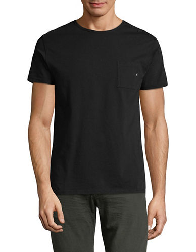 Scotch And Soda Pocket Cotton T-Shirt-BLACK-X-Large