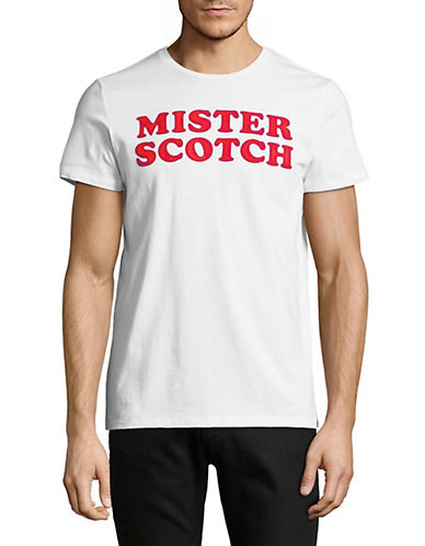 Scotch And Soda Crew Neck Logo Cotton T-Shirt-WHITE-Large 89982568_WHITE_Large