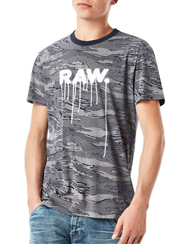 G-Star Raw Daefon Tiger Camouflage Jersey Tee-BLUE-Large