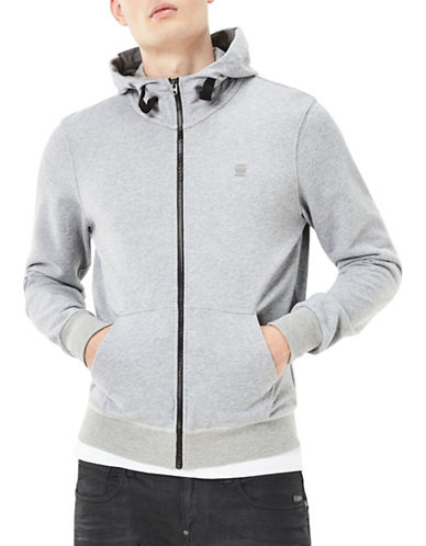 G-Star Raw Core Hooded Zip-Front Sweatshirt-GREY-Large