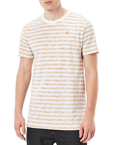 G-Star Raw Kantano Striped Jersey Tee-WHITE/ORANGE-Large