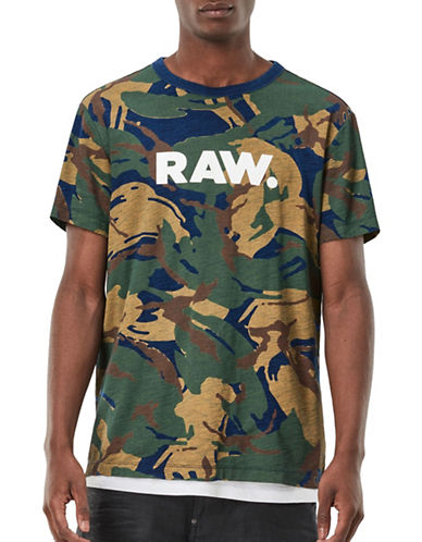 G-Star Raw DC Classic Bound Camouflage-Print Jersey Tee-BLUE/GREEN-Large