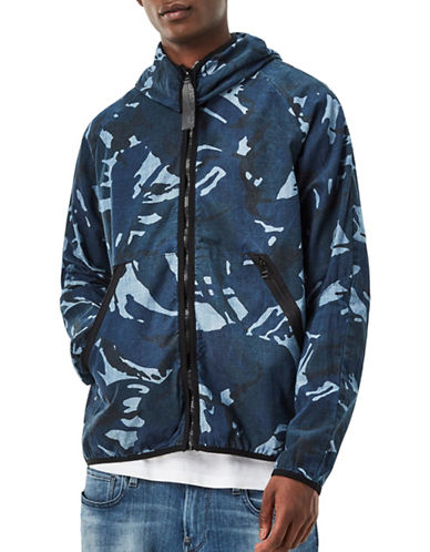 G-Star Raw Strett Hooded Gymbag Jacket-BLUE-X-Large