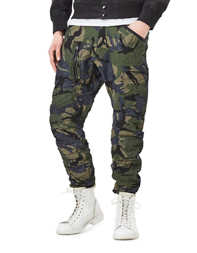 G-Star Raw Powel 3D Camouflage Tapered Cuffed Pants-GREEN-38X34