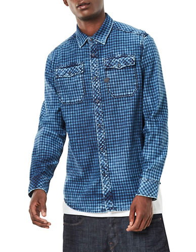 G-Star Raw Landoh Check Denim Sport Shirt-WHITE/BLUE-Small
