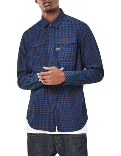 G-Star Raw Landoh Check Denim Sport Shirt-BLUE-XX-Large