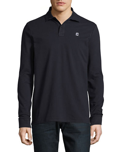 G-Star Raw Premium Stretch Long Sleeve Polo-BLUE-Large 89506275_BLUE_Large