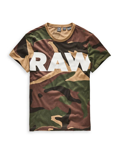 G-Star Raw Woodland Camo Cotton Tee-MULTI-COLOURED-Small