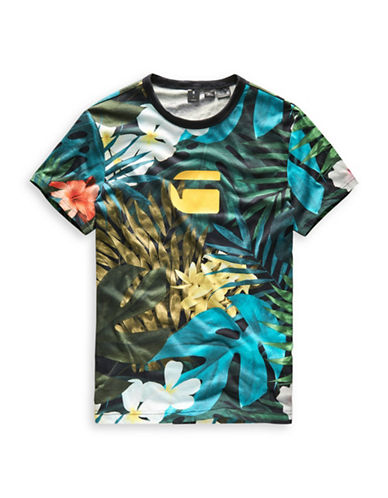 G-Star Raw Aloha Cotton Tee-BLACK-Medium