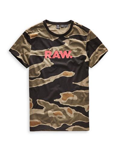 G-Star Raw Tiger Camo Cotton Tee-BLACK-Large
