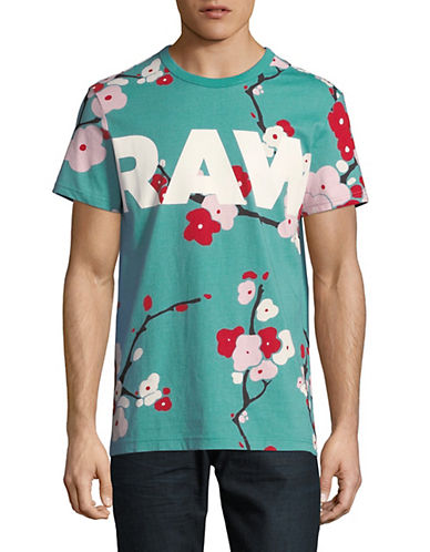 Sakura Printed Cotton T Shirt by G Star Raw