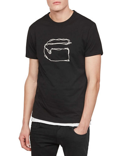 G-Star Raw Monthon Cotton Tee-BLACK-Large