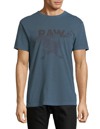 G-Star Raw Parta Relaxed Cotton Tee-BLUE-Medium
