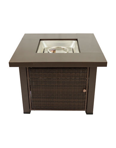 Greenway Home Products Pleasant Hearth Rio Square Wicker Gas Fire Pit Table-BRONZE-One Size