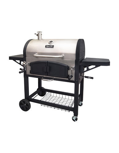 Dyna-Glo Large Premium Dual Chamber Charcoal Grill-STAINLESS STEEL-One Size