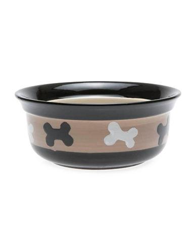 Petrageous Designs City Pet Bone One-Quart Bowl-BLACK/TAUPE-One Size