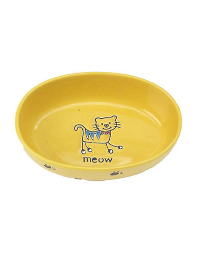 Petrageous Designs Silly Kitty Oval Bowl-YELLOW-One Size