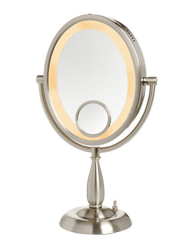 Jerdon 10X Oval Lighted Table Top Mirror-SILVER-10