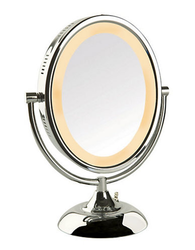 Jerdon 8X Oval Lighted Table Top Mirror-CHROME-8