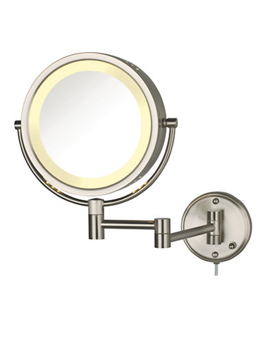 Jerdon 8x Magnification Wall Mount Lighted Mirror-NICKEL-One Size
