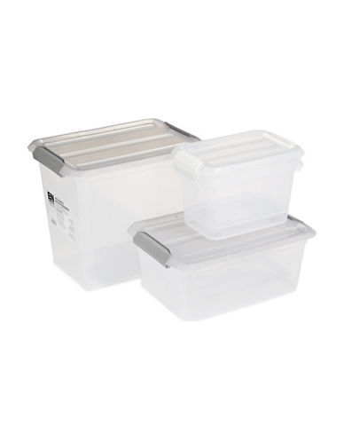 Essential Needs Set of Four Storage Totes-CLEAR-One Size
