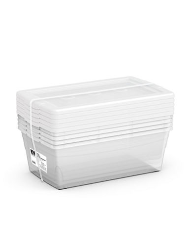 Essential Needs Set of Five Shoe Boxes-CLEAR-One Size