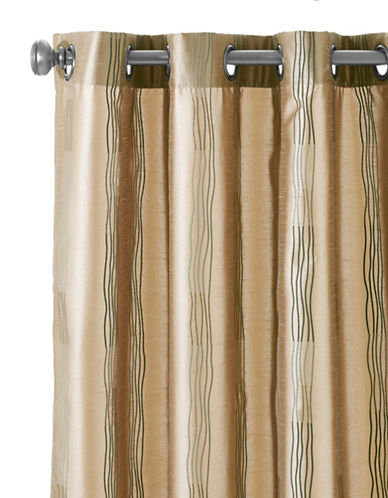 Home Studio Wiggle Striped Grommet Panel-BEIGE-96 inches