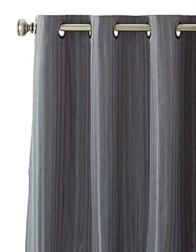 Home Outfitters Sarah Stripe Curtain Panel-DARK GREY-One Size