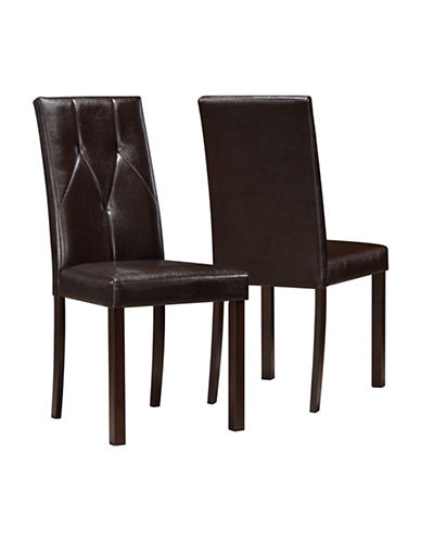Monarch Two-Piece Tufted-Back Dining Chairs-BROWN-One Size
