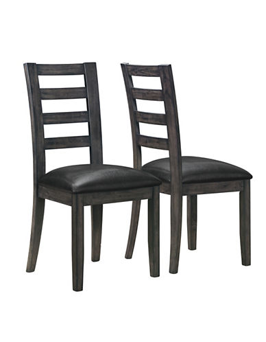 Monarch Set of Two Ladder-Back Dining Chairs-DARK GREY-One Size