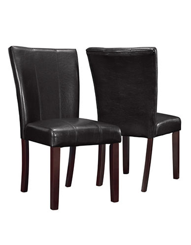 Monarch Two-Piece Leather-Look Dining Chair Set-BROWN-One Size