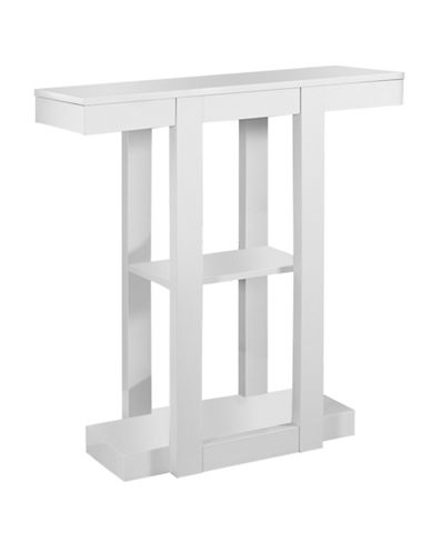 Monarch Triple-Tier Hall Console Accent Table-WHITE-One Size