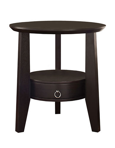 Monarch Round Accent Table with Drawer-CAPPUCCINO-One Size