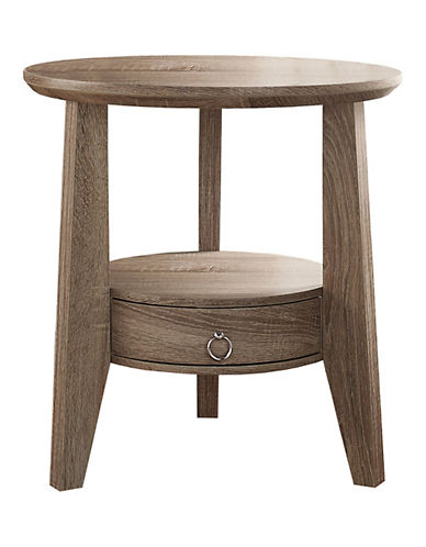 Monarch Round Accent Table with Drawer-DARK TAUPE-One Size