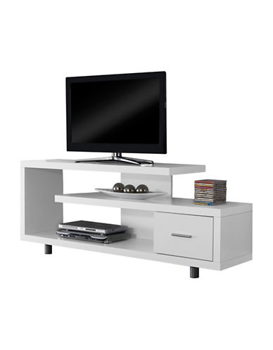 Monarch TV Stand with Drawer-WHITE-One Size