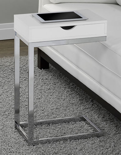 Monarch Rectangular Drawer Accent Table-WHITE-One Size