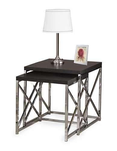 Monarch Criss-Cross Chrome-Look Nesting Tables-BROWN-One Size