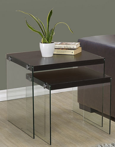 Monarch Tempered Glass Nesting Tables-CAPPUCCINO-One Size