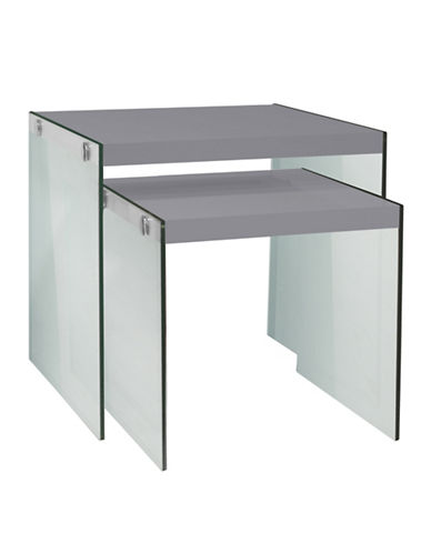Monarch Glossy Tempered Glass Nesting Tables-WHITE-One Size