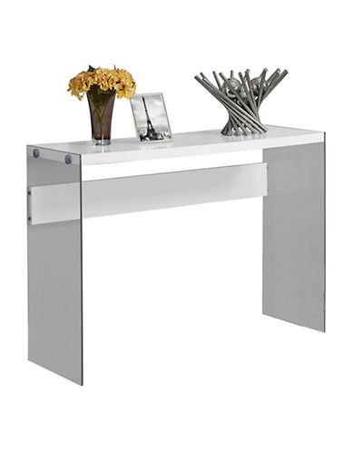 Monarch Glossy Tempered Glass Console Table-WHITE-One Size