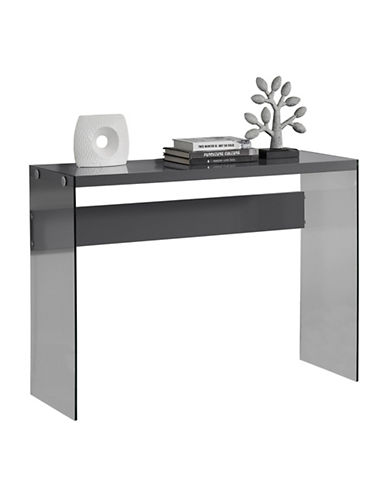 Monarch Tempered Glass Console Table-GREY-One Size