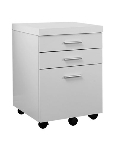 Monarch Three-Drawer Filing Cabinet-WHITE-One Size