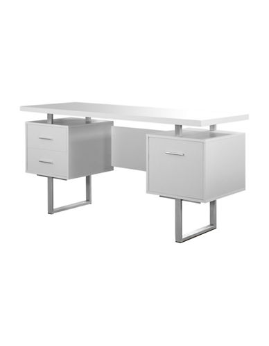 Monarch Floating Top Computer Desk-WHITE-One Size