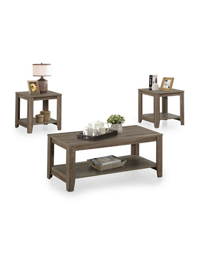 Monarch Three-Piece Open-Concept Coffee and End Tables Set-TAUPE-One Size