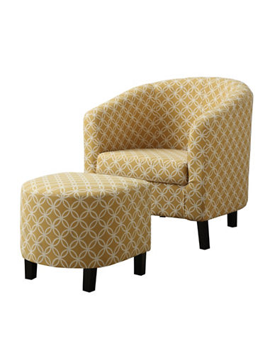 Monarch Circular Print Accent Chair and Ottoman-YELLOW-One Size
