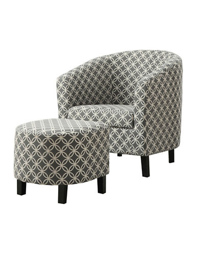 Monarch Circular Print Accent Chair and Ottoman-GREY-One Size