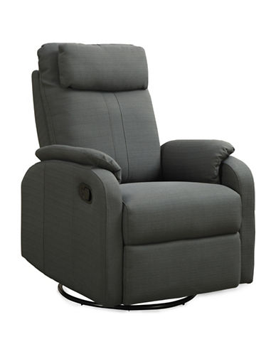 Monarch Linen Recliner Swivel Rocker Chair-CHARCOAL-One Size