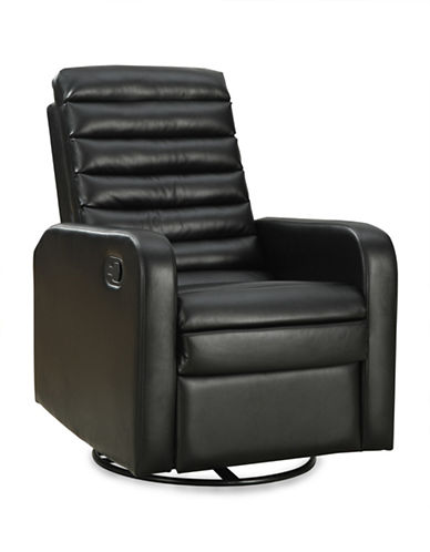 Monarch Bonded Leather Quilt Back Recliner Swivel Glider Chair-BLACK-One Size