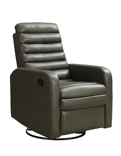Monarch Bonded Leather Quilt Back Recliner Swivel Glider Chair-GREY-One Size