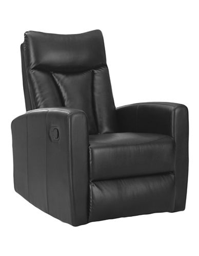 Monarch Swivel Glide Leather Recliner Chair-BLACK-One Size